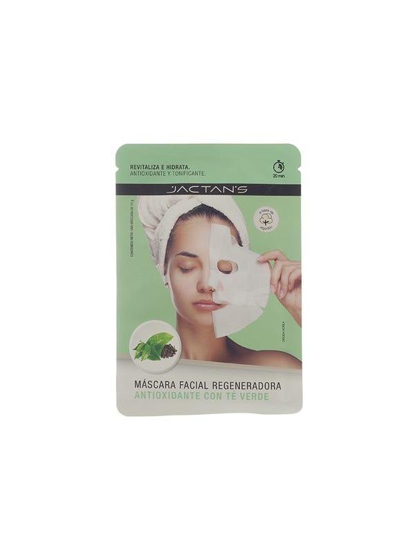 Máscara facial regeneradora antioxidante con té verde.