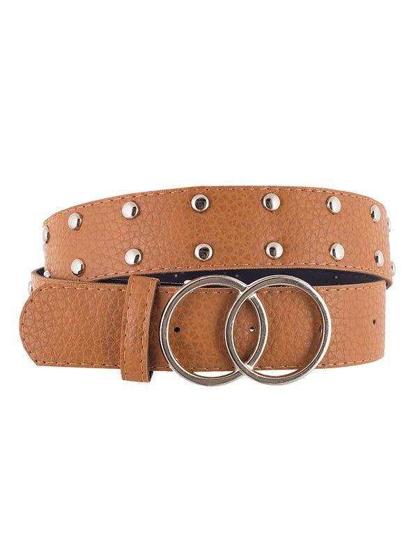 Cinturón doble circulo con tachas