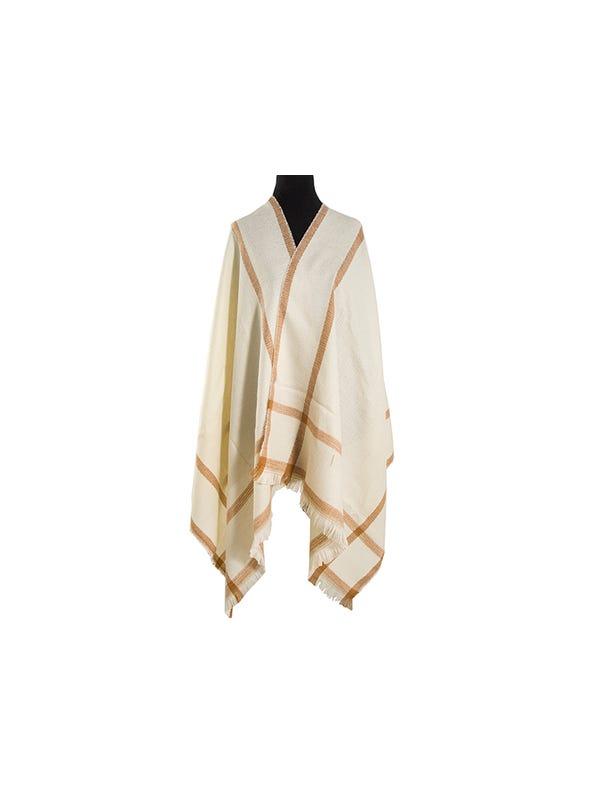 Mantón clásico estampado de lana frizado desflecado