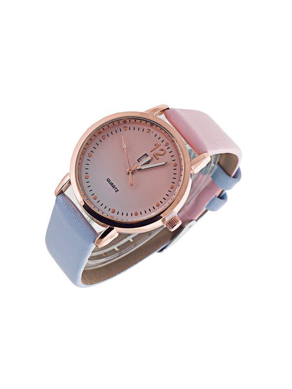 Reloj Cuero Ecológico Rosa-celeste