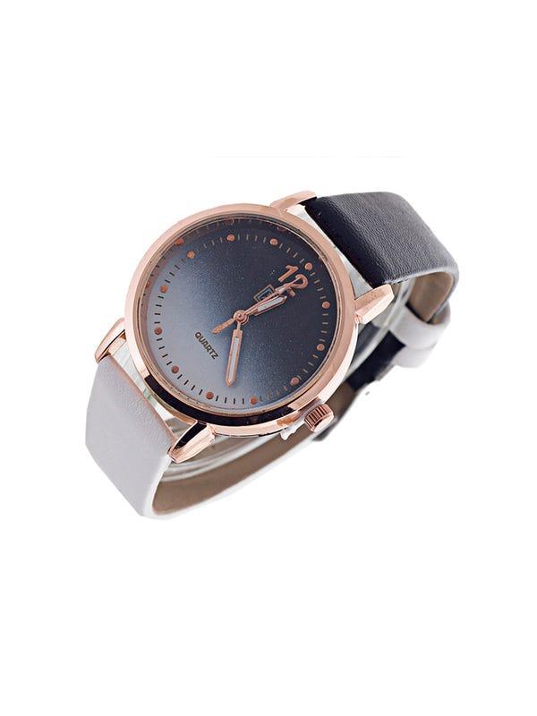 Reloj Cuero Ecológico Negro-Blanco