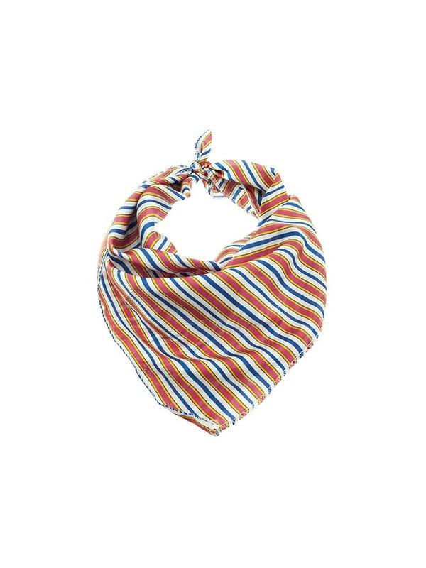 Pañuelo de seda cuadrado multicolor.