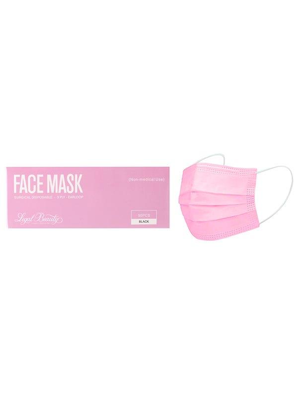 Barbijo tricapa rosa termo sellado x50 unidades.
