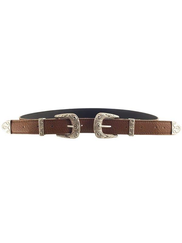 Cinturón Cuero Ecológico con Doble Hebilla y Pasador Plateado