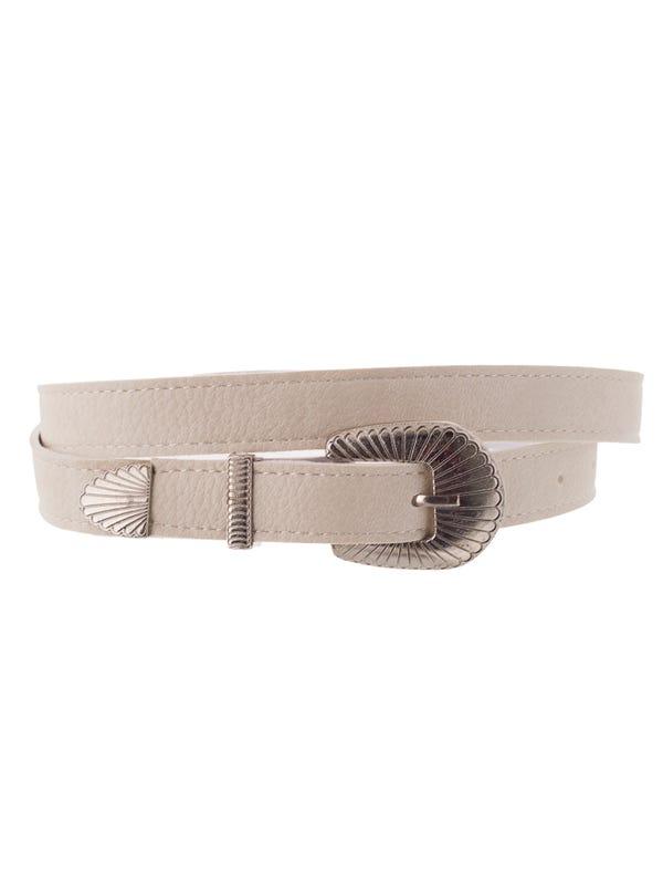 Cinturón pase chico hebilla rayada.