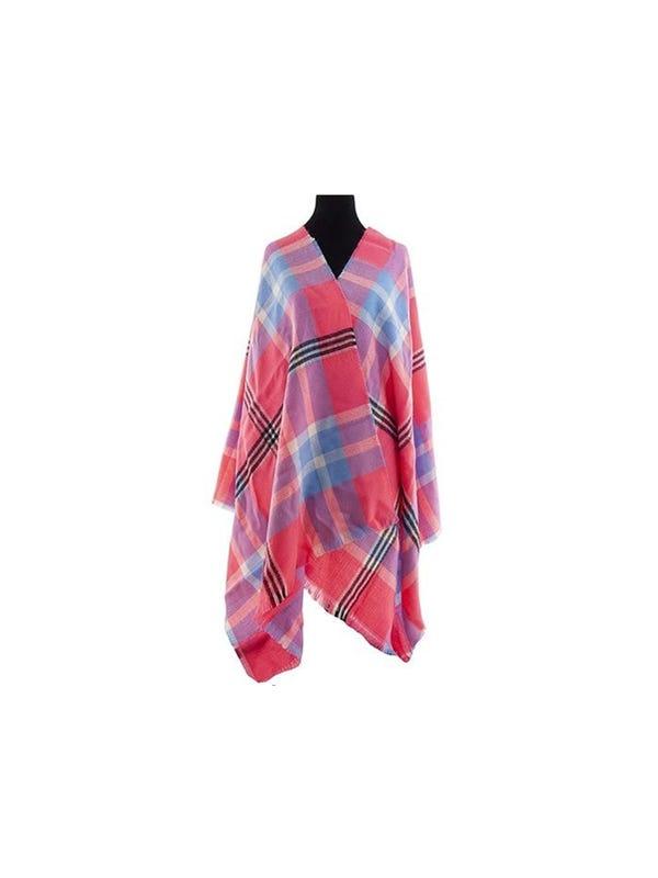 Mantón premium estampado de lana frizado desflecado
